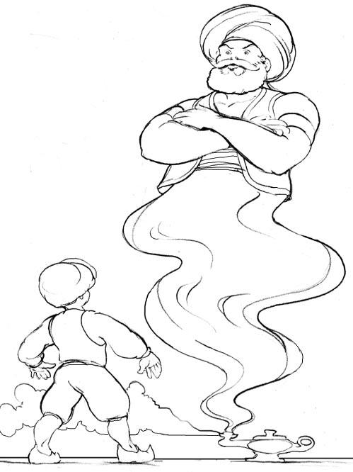 Нарисовать джин карандашом